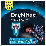 DryNites saugfähige Nachtwindeln bei Bettnässen, Für Jungen 3-5 Jahre (16-23 kg), 64 Stück, Jumbo Monatspackung, Windel-Pants