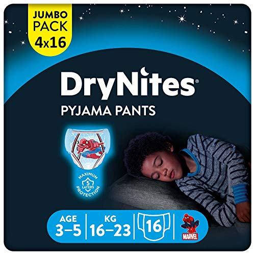 DryNites saugfähige Nachtwindeln bei Bettnässen, Für Jungen 3-5 Jahre (16-23 kg), 64 Stück, Jumbo Monatspackung