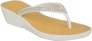 Fashion Thirsty Womens Wedge Jelly Sandals Low Heel Flip Flops Diamante Toe Post Size