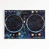 Póster de estrellas y constelaciones que brillan en la oscuridad, diseño de estrellas y cielo nocturno - 84.1 x 59.4 cm
