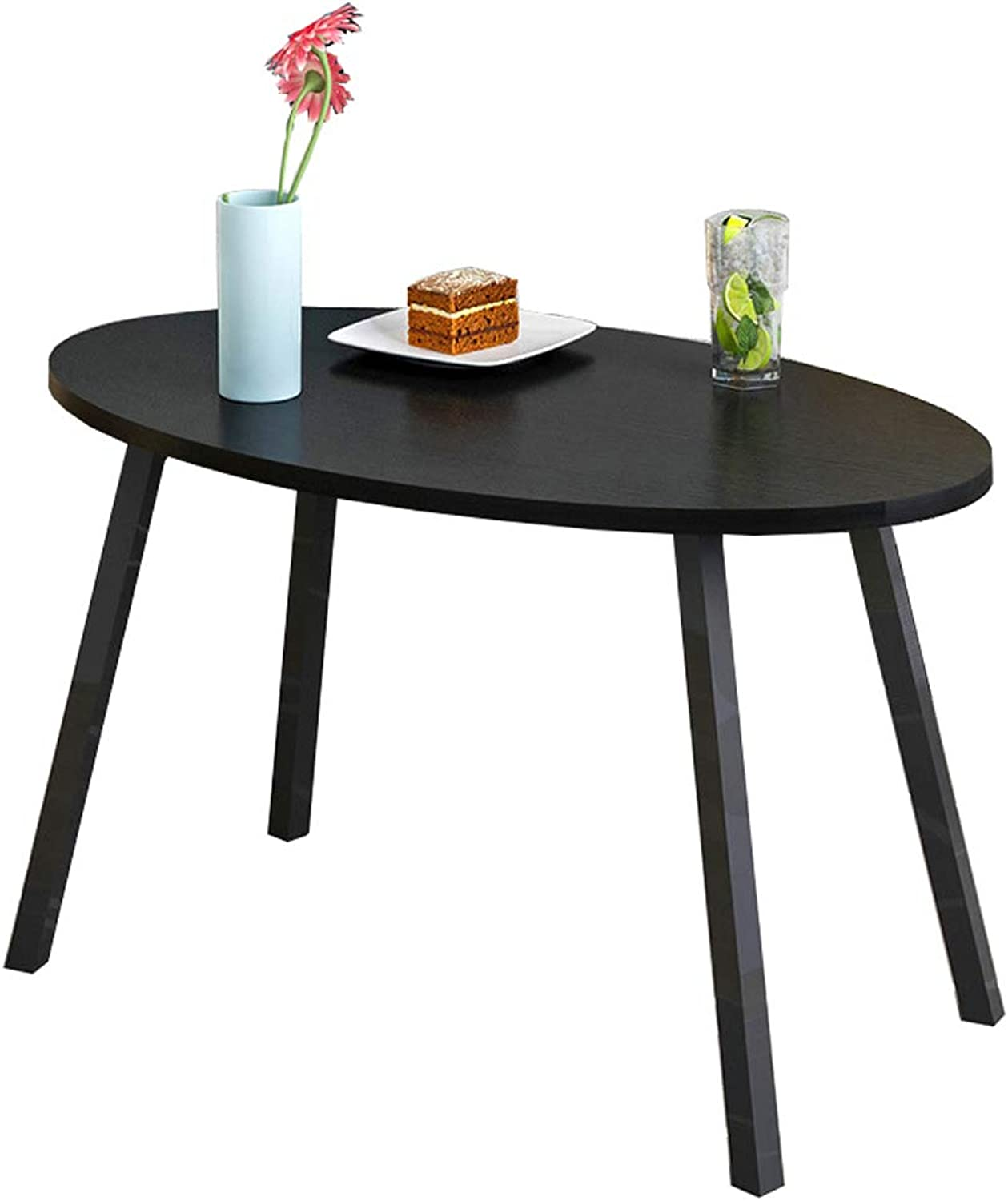 Coffee Table, Black Simple Mini Side A Few Bedrooms Small Round Table Sofa Side Table Creative Bedside Table (Size   80  48cm)