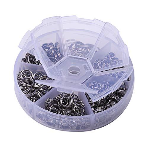 non-brand 600Pcs Edelstahl Schlüsselringe/Split Rings, Schlüsselbund Ringe klein, 6 Größe Sortiert 5mm bis 14mm im Box