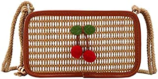 TOOGOO Summer Women'S Bag Cherry Woven Diagonal Cross Bag Small Bag Sequin Net Red Crossbody Bag Black