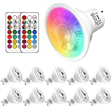 RGBW 5W GU10 Led Colores Cambiantes Lámpara,Sunpion RGB 6000K Coolwhite Bombilla Bulbo LED AC 85-265V, LED Lampara Bombilla Colores Mando a Distancia Led RGB Light Bulb (10Pack GU10 RGB+6000K)