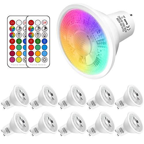 GU10 LED Farbwechsel Lampe, 5W ersetzt 50W Halogen,500 Lumen, GU10 LED Kaltweiss 6000K RGBW, gu10 farbe Dimmbar ,10 Stück
