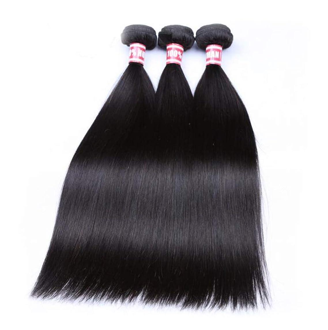 過敏なニンニクラックかつらかつらストレート3バンドル 100% 未処理レミー人間の髪の拡張機能ナチュラルカラー (8-26 インチ)