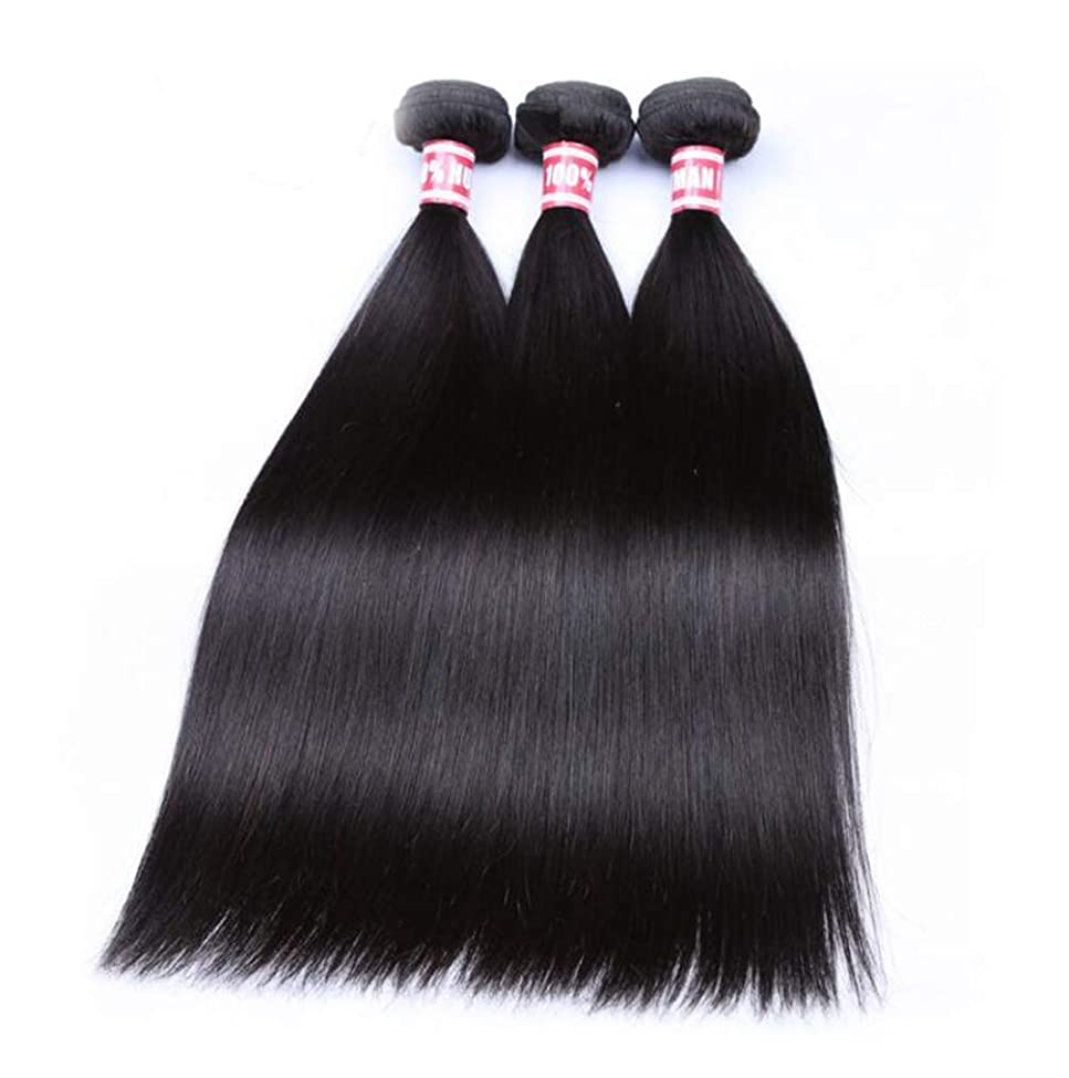 有毒なフォーマットゆりかごかつらかつらストレート3バンドル 100% 未処理レミー人間の髪の拡張機能ナチュラルカラー (8-26 インチ)