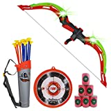 NWESTUN Bow and Arrow for Kids with LED Flash Lights - Archery Bow with 10 Suction Cups Arrows, 6 Foam Targets, Target and Quiver, Gifts for 4-12 Year Old Boys, Green