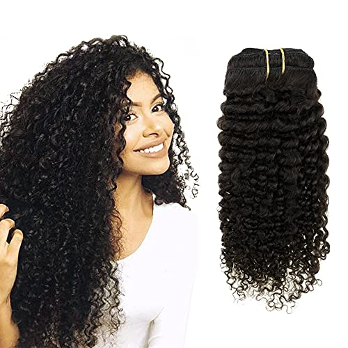 Easyouth Clip in Hair Extensions 20 zoll 100g 7Pcs Pro Paket Natürliches Schwarzes Verworre Curly Haar Clip Extensions
