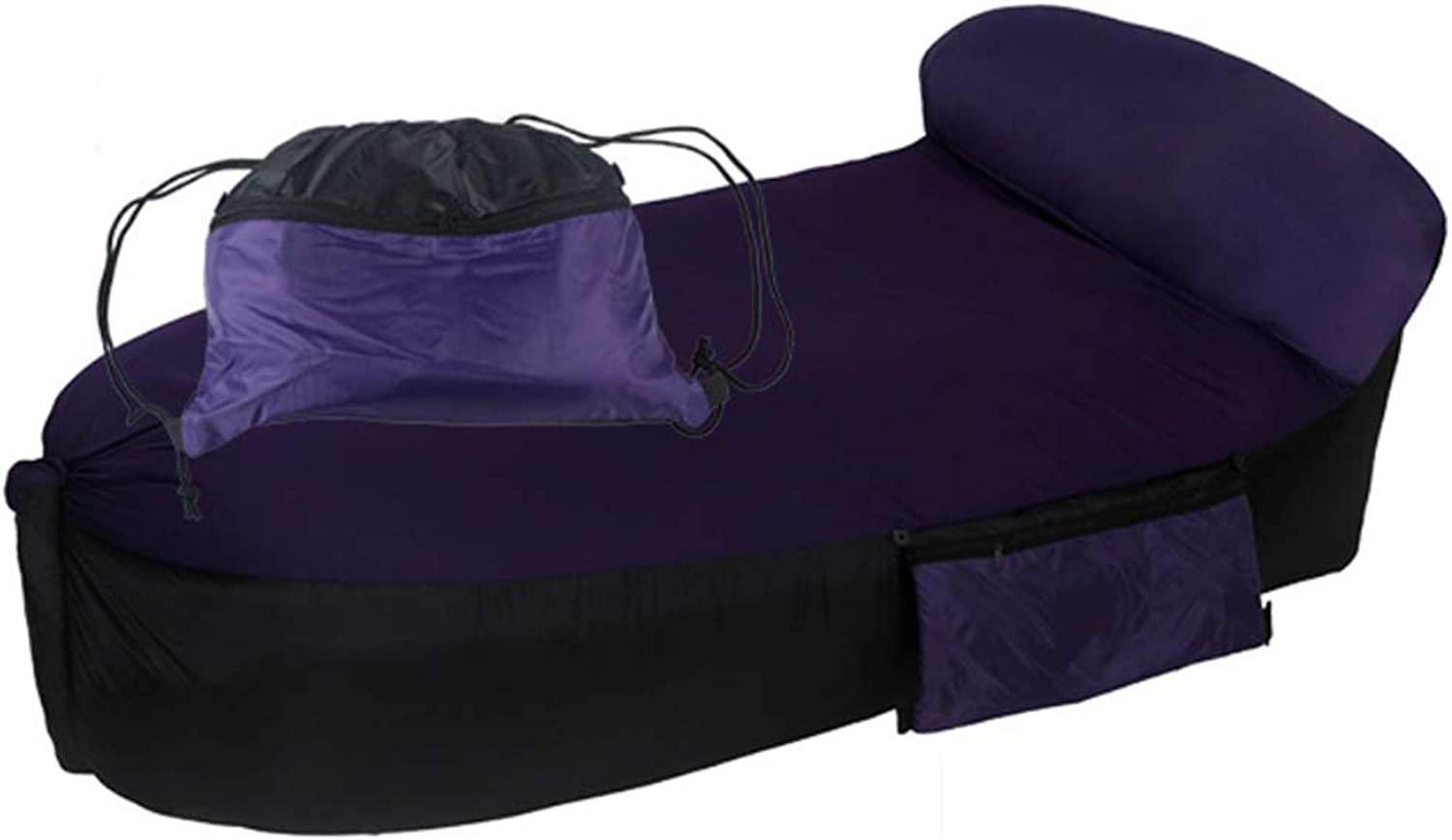Summer Swimming Beach Inflatable Recliner Lazy Portable Waterproof Adult Floating Bed Sleeping Bag Hiking Pool (color   PURPLE)