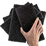 Heavy Duty XL Black Scouring Pad 5 Pack. 10 x 4.5in Large Multipurpose Nylon...