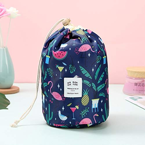 Women Lazy Drawstring Cosmetic Bag Round Travel Makeup Bag Organizer Make Up Case Storage Pouch Toiletry Beauty Kit Neceser BlueFlower 23*17cm
