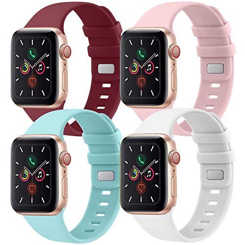 CTZL Correa Compatible con Apple Watch 38mm 40mm 42mm 44mm, Pulsera de Repuesto para iWatch Series SE 6 5 4 3 2 1 (38mm/40mm S/M, Rosa/Blanco/Azul Claro/Vino Rojo)