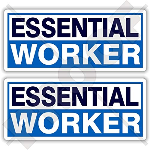 Essential Worker Stickers 115mm COVID Virus Key Workers Support Coronavirus Quarantine Isolation x2