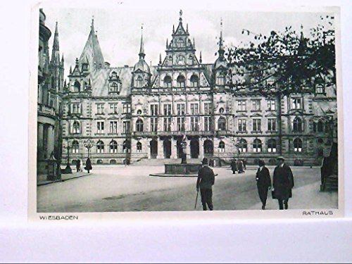 AK Wiesbaden, Rathaus, Personen, Brunnen, Gebäudeansicht, 1937, Gelaufen.