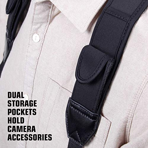 Camera Strap Chest Harness with Comfortable Neoprene and Accessory Pockets by USA GEAR - Works with Canon , Nikon , Fujifilm , Sony , Panasonic and More DSLR , Point & Shoot , Mirrorless Cameras