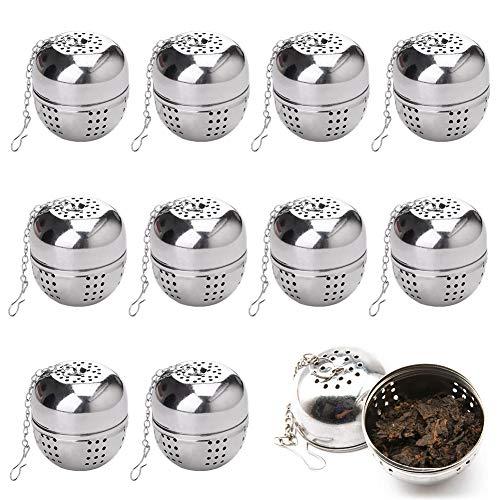 FANDE Tetera, Colador de té de Acero Inoxidable de 10 Piezas, Colador de té de Hojas Sueltas de Plata, Colador de té Esférico con Cadena, Adecuado para té y Especias a Granel (10 Piezas)