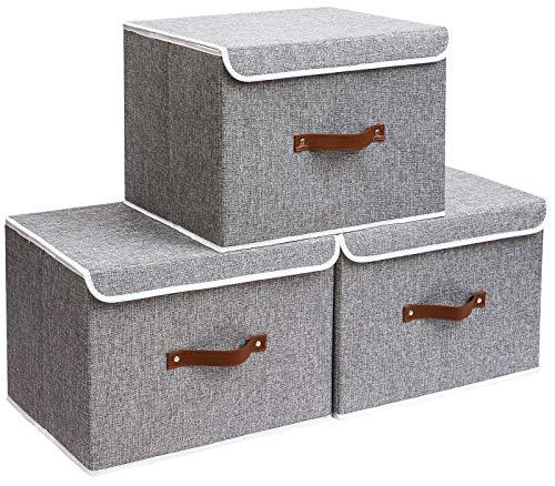 Yawinhe Aufbewahrungsbox mit Deckel, Faltbare Leinentuch Kleidung Ablagekorb für Handtücher, Bücher, Spielzeug, Kleidung (Grau, 45x30x30cm)