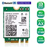 Authentic Intel AX200NGW Wi-Fi 6 11AX WiFi Module 2 x 2 MU-MIMO Dual Band Wireless Card with Bluetooth 5.0 Internal WiFi Adapter Support Windows 10 64bit, M.2/NGFF
