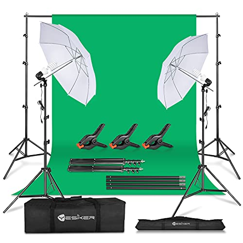 Yesker Photography Lighting Umbrella Kit, 6x9ft Green Screen Kit Backdrop Continuous Lighting Umbrella, 8.5x10ft Background Support System for Studio Photo Portrait Video Streaming