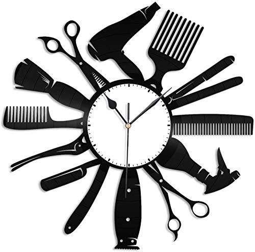 xiayanmei Herramientas de Pelo de Vinilo Reloj de Pared único Arte peluquería peluquería Herramientas de diseño Regalo para los Amigos del barbero Decoración del hogar y la habitación