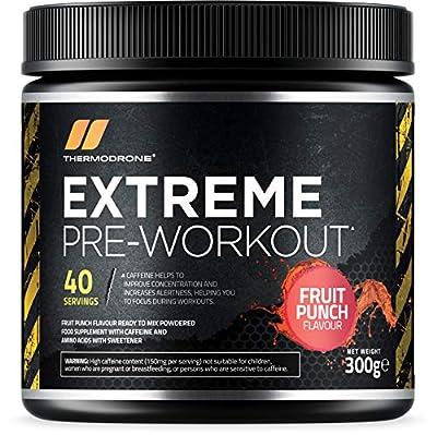 Pre Workout Supplement - Extreme Pre Workout Powder - 40 Servings (300 Grams) - UK Made Premium Preworkout Drink with Beta-Alanine, Taurine, L-Isoleucine, D-Aspartic Acid, L-Valine, Caffeine