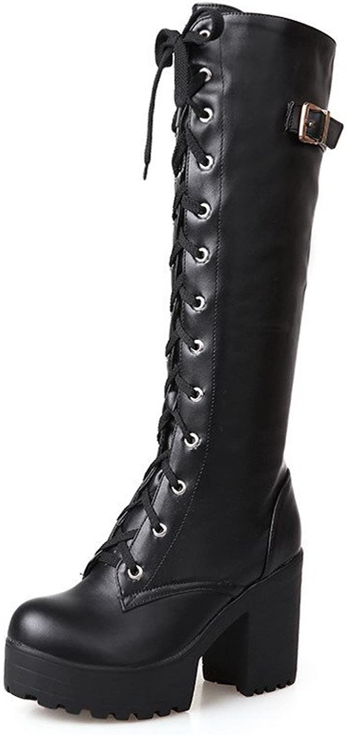 WeiPoot Women's Lace-up Round Closed Toe High-Heels PU High-Top Boots