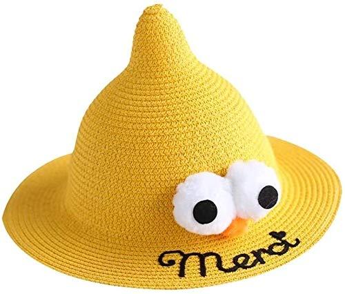 SGHKKL Niño Sombrero Fresco de los niños Sombrero de Pescador Sombrero de la niña del niño Sombrero del Verano de sección Ligera Protector Solar Protector Solar Transpirable Paja (Color : Yellow)