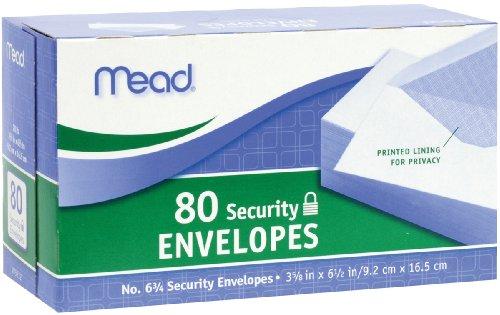 Mead #6-3/4 Security Envelopes, 3-5/8 x 6-1/2, Confidential, White, 80 per Box (75212)