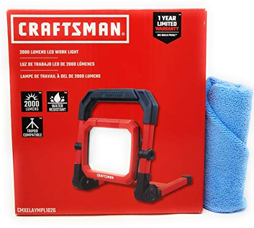 Craftsman LED Portable Work Light, 2000 Lumens and Tesadorz Microfiber Towel