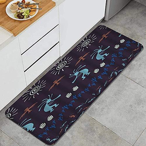 JOSENI Anti-Müdigkeit Küche Bodenmatte,Antikes Kokopelli Piktogramm Südwesten Indianer Boho Art,rutschfest Gepolstert Tür Schlafzimmer Bad Teppich Pad,120 x 45cm