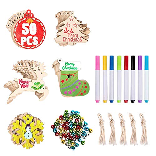 jieGorge Interesting DIY Wooden Christmas Tree Pendant Bells With Colored Drawing Pens, Decoration & Hangs, for Christmas Day (As Shown)