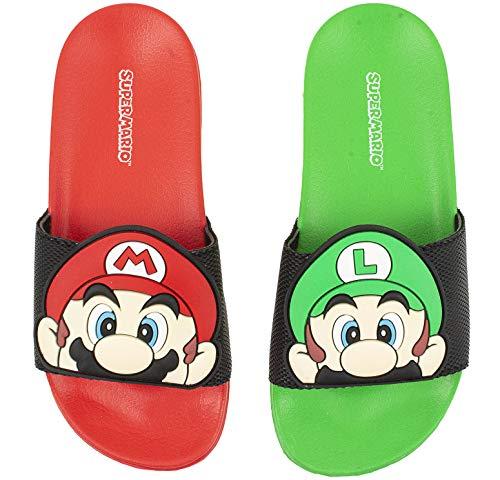 SUPER MARIO Nintendo Sandals, Mario and Luigi Mismatch Slide Sandal,Boys size 1 to 2 (1-2)