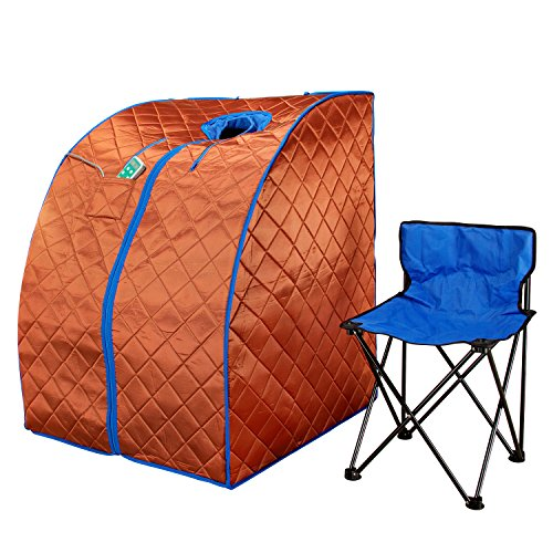Durasage Infrared Sauna | Large Portable Low EMF/EMR Indoor Sauna with Chair and Heated Footpad Included - Copper