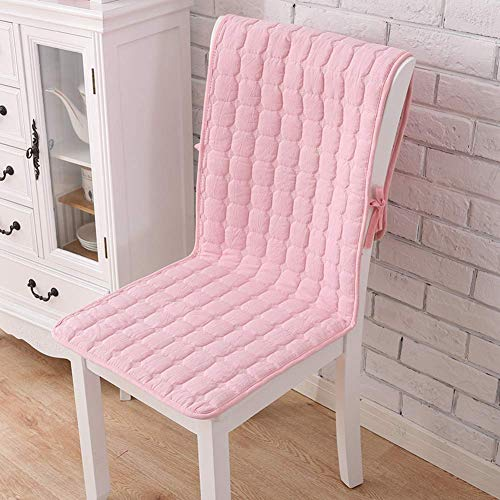 WJX&Likerr With pocket One-piece Chair cushion, Cotton Four seasons Seat cushion Set Non-slip Chair With straps Dining Chair cushion-Pink A 50x140cm