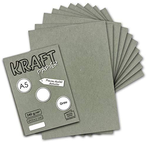 50x Vintage Kraftpapier in Grau - DIN A5-21 x 14,8 cm - 240 g/m² natur-graues Recycling-Papier, 100% ökologisch Bastel-Karton Einzel-Karte - NEUSER PAPIER
