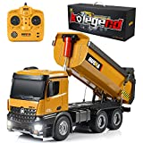 kolegend Remote Control Construction Dump Truck, 1/14 Scale Full Functional RC Dump Truck Toy Heavy Duty Metal Construction Vehicle with LED Lights and Simulation Sound