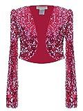 Anna - Kaci Womens Glitter Sequins Shiny Long Sleeve Cropped Bolero Blazers Shrugs, Rose Red, Medium