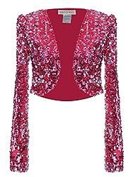 Rose Red Sequin Long Sleeve Cropped Blazer Bolero Shrug