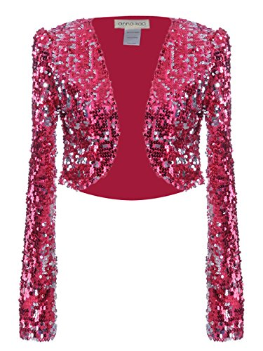 Anna - Kaci Womens Glitter Sequins Shiny Long Sleeve Cropped Bolero Blazers Shrugs, Rose Red, Large