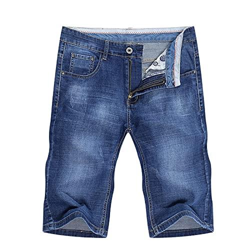 HSDFKD Pantalones Cortos para Hombre Jeans Shorts Stretch Celeste Slim Fit, Azul, 32