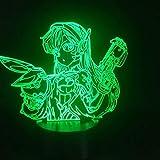 Lmpara de mesa 3D Juego Overwatch Hero DVA Atmsfera cambio de color Visual Night Light Effect Lmpara de mesa