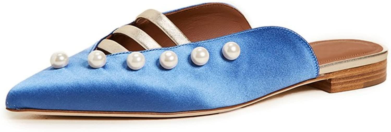 JIANXIN Baotou Sandalen Weibliche Weibliche Xia Pingdi Pearl Oberbekleidung Faule Menschen Halbe Hausschuhe Zwei Tragen Flache Fersen Wies Mules Schuhe (Größe   EU 35 US 4.5 UK 2)  der beste Kundendienst