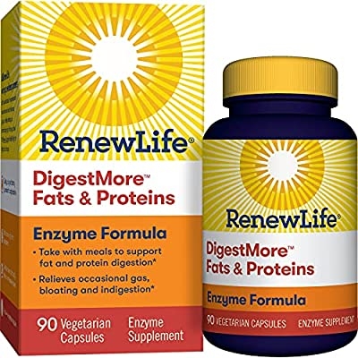 Renew Life® Adult Digestive Enzyme - DigestMore™ Fats & Proteins Enzyme Supplement - Plant-Based Formula, Supports Digestion of Fats and Proteins - 90 Vegetarian Capsules