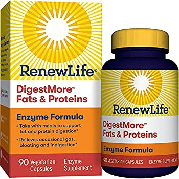 Renew Life® Adult Digestive Enzyme - DigestMore™ Fats & Proteins Enzyme Supplement - Plant-Based Formula Supports Digestion of Fats and Proteins - 90 Vegetarian Capsules