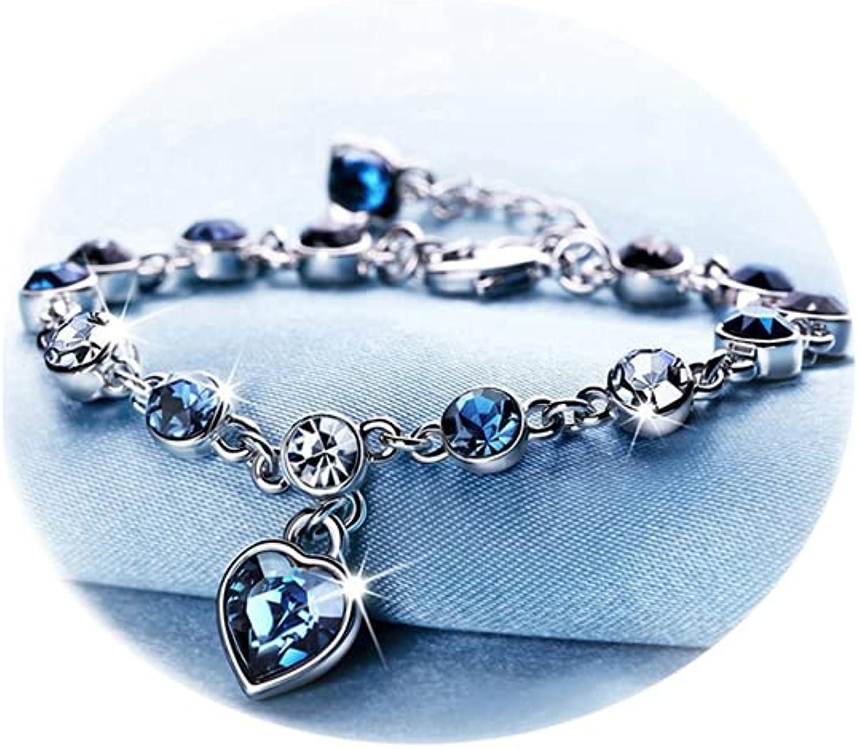 RONLLNA half Bracelet for Women Birthstone Eternal Crystal Love supreme Charm
