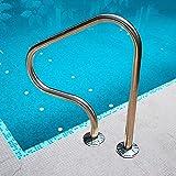 pasamanos de acero inoxidable para piscinas, agarraderas de seguridad para barandillas de rampas de escaleras de entrada a la piscina, pasamanos de fácil montaje con placa base para piscinas enterra