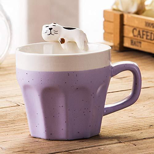 HGFER Kaffeetassen Mug,350Ml Keramik Kreative Lustige Faule Katze Lila Schäbigen Becher Mit Griff Wiederverwendbare Tee Milch Espresso Tasse Geschenk Für Mutter Frauen Ehemann Freund Kinder Geschenk