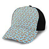 FULIYA Gorra de béisbol estructurada, adorno gráfico de pez dorado inspirado en el mar con fondo azul para acuario y papá, se adapta a hombres y mujeres, perfil bajo ajustable
