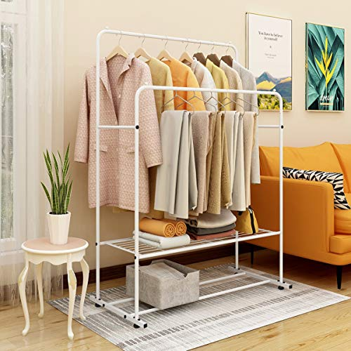 JURMERRY Clothes Rail Garment Rail Double Hanging Rail, Heavy Duty Metal with Shelf, White